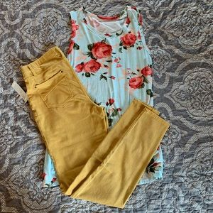 Faded Glory Mustard Jeggings. NWT. Medium (8-10)